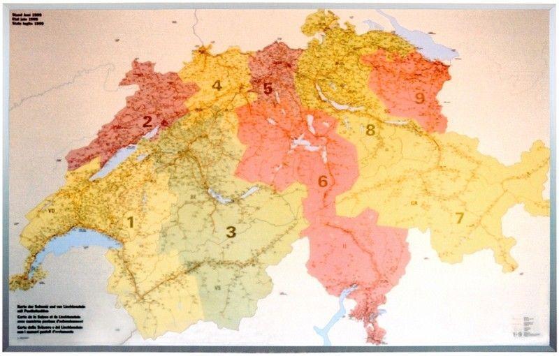 Postleitzahlenkarte Schweiz 1:260.000