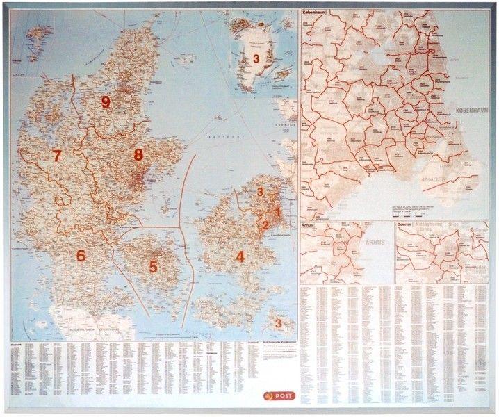 Postleitzahlenkarte Dänemark 1:500.000
