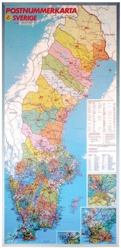 Postleitzahlenkarte Schweden 1:1.200.000
