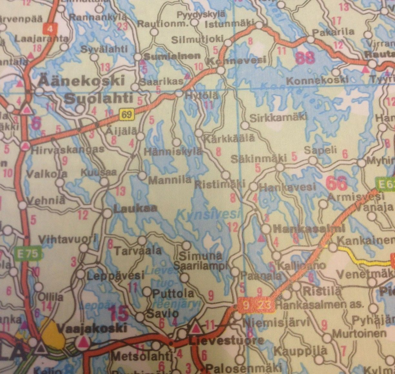 Landkaart Finland