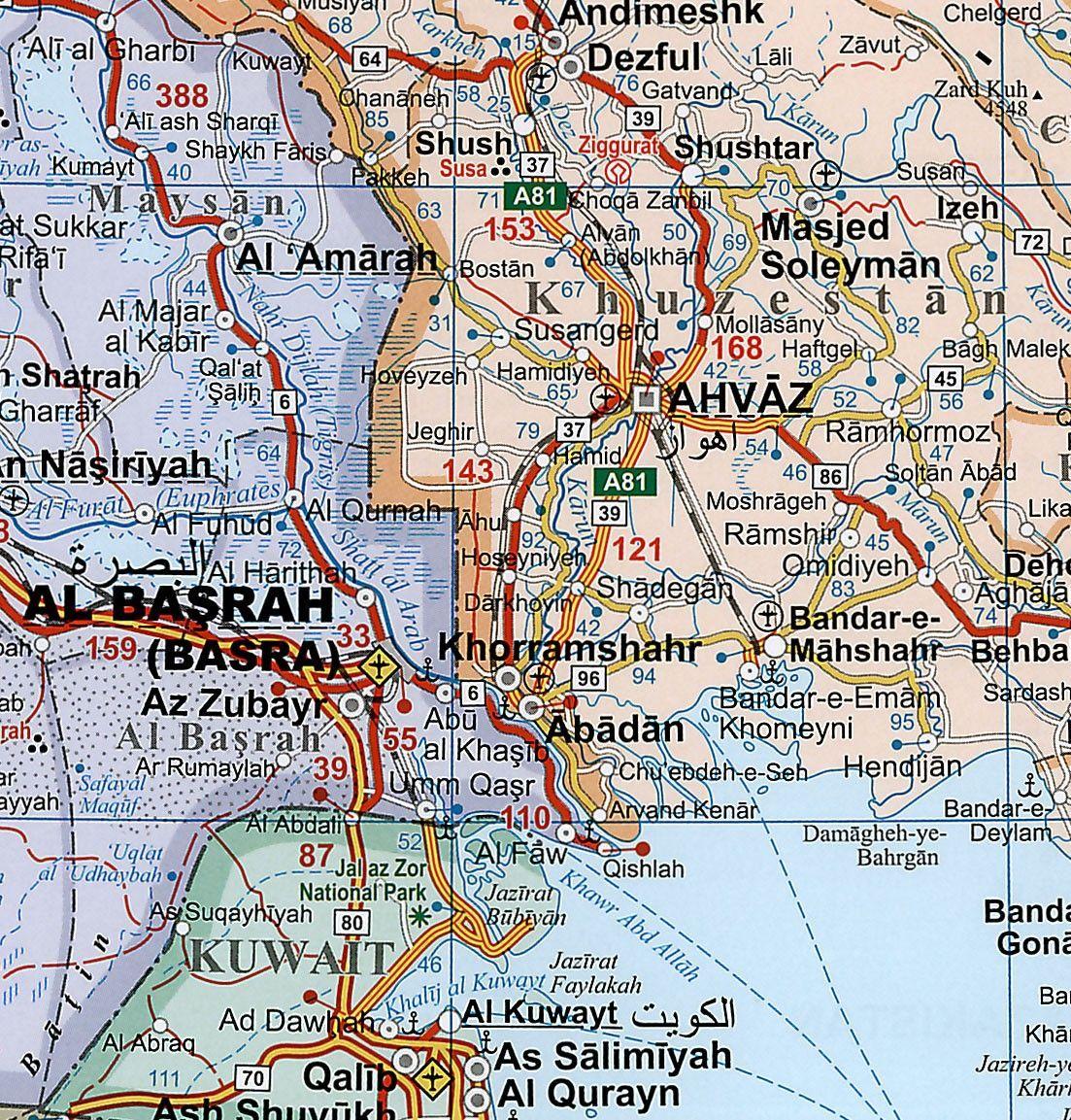 Landkaart Midden-Oosten