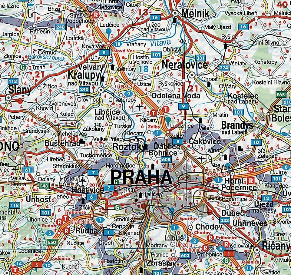 Landkaart Tsjechie