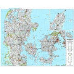 Landkarte Dänemark 1:300.000 mit platz namen index