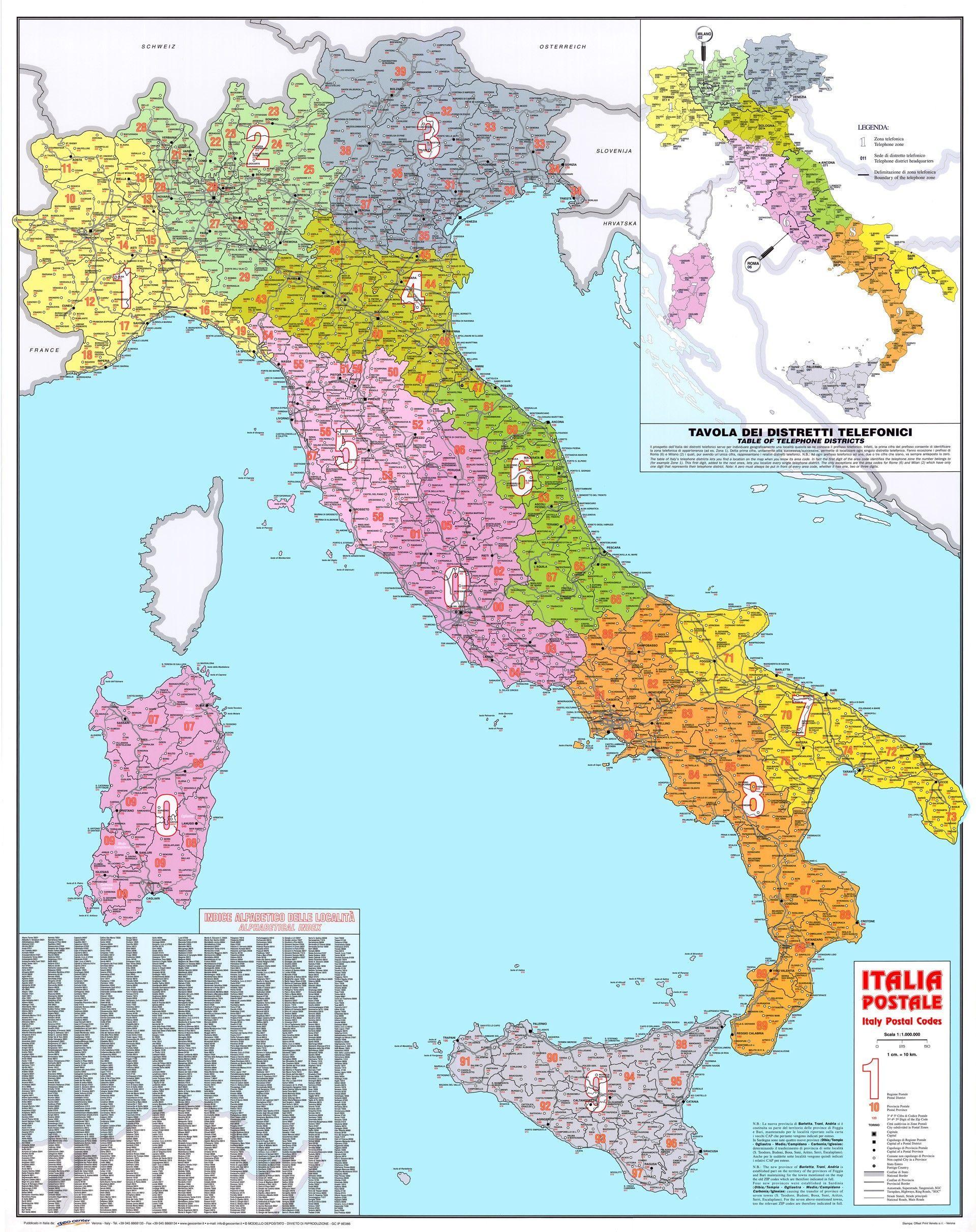 Postcodekaart Italië