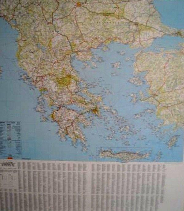 Landkarte Griechenland mit platz namen index
