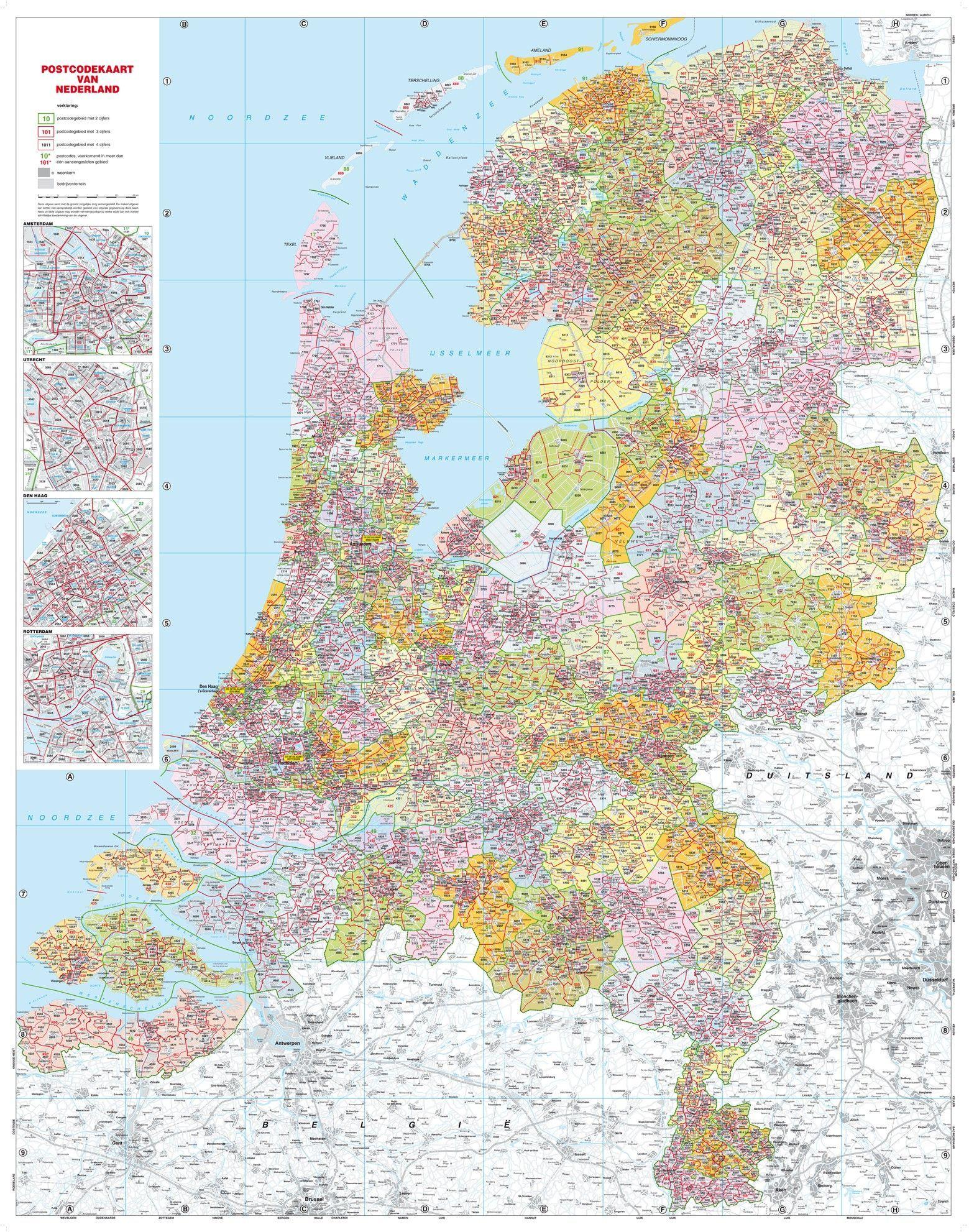 4-cijferige Postcodekaart Nederland