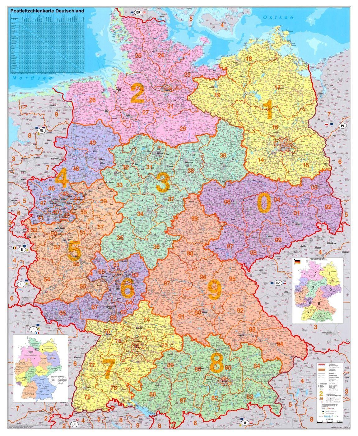 5-cijferige Postcodekaart Duitsland