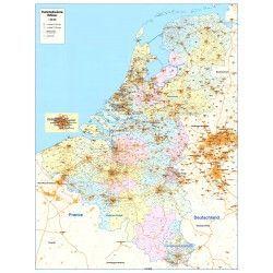 4-stellige Postleitzahlenkarte Beneluxländer 1:390.000