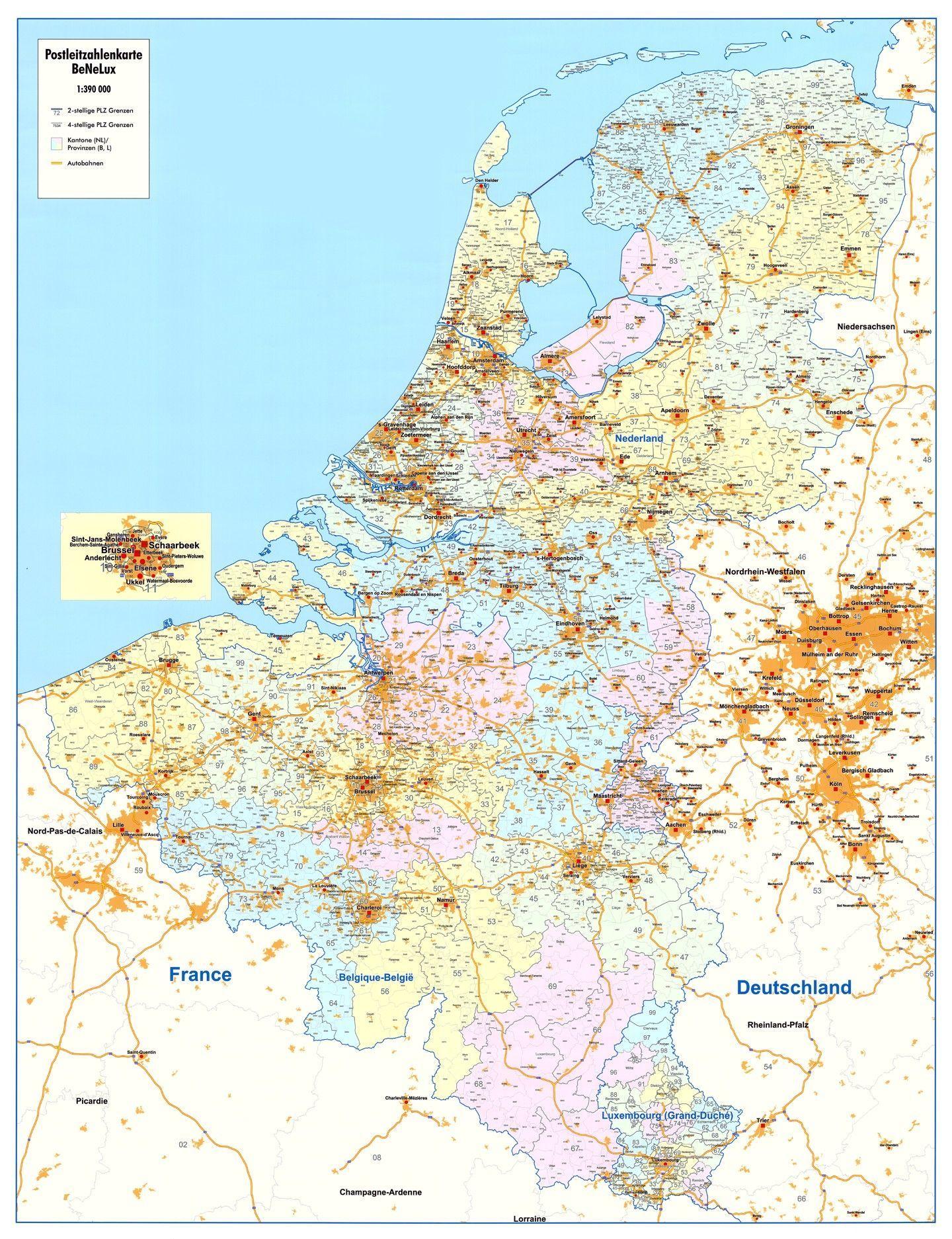 4-cijferige Postcodekaart Benelux
