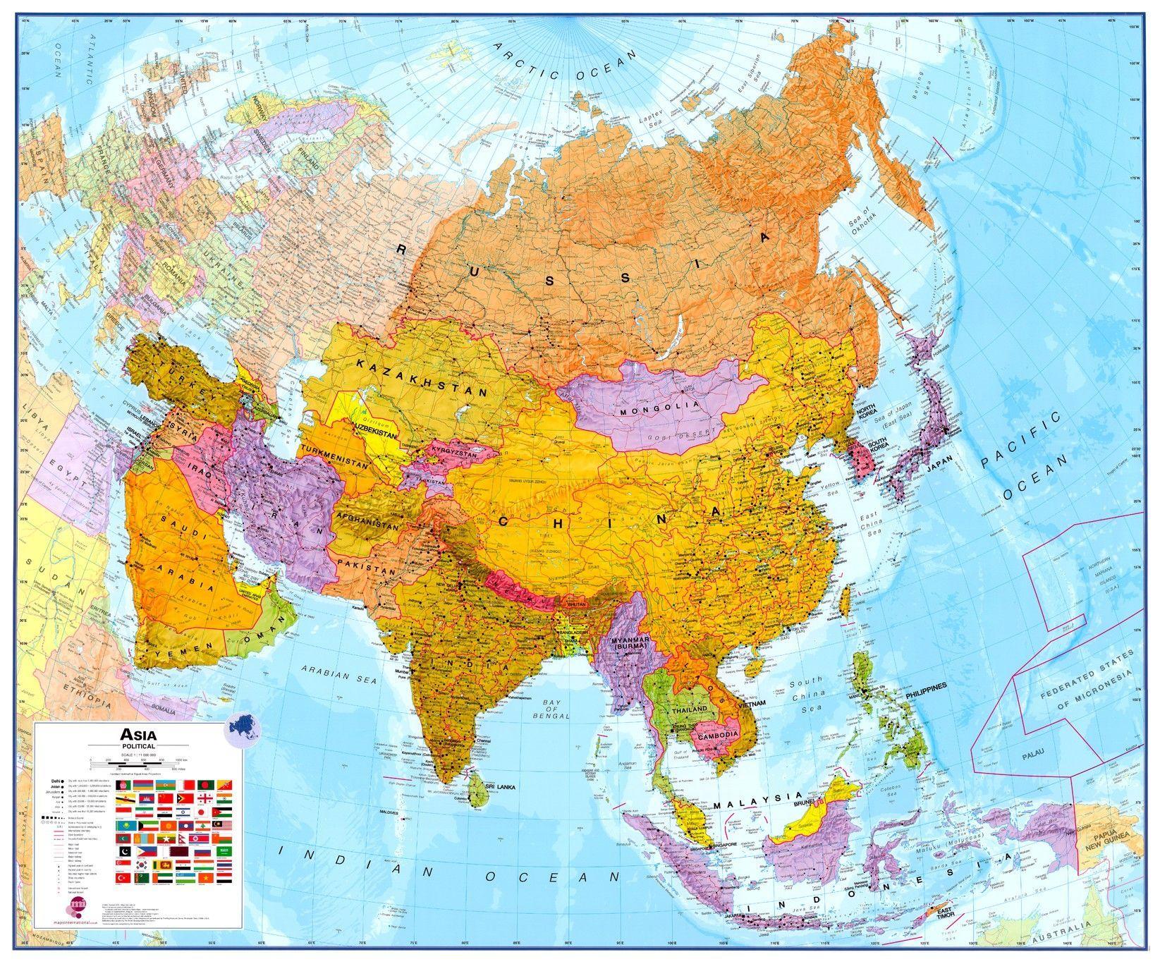 Continentkaart Azië