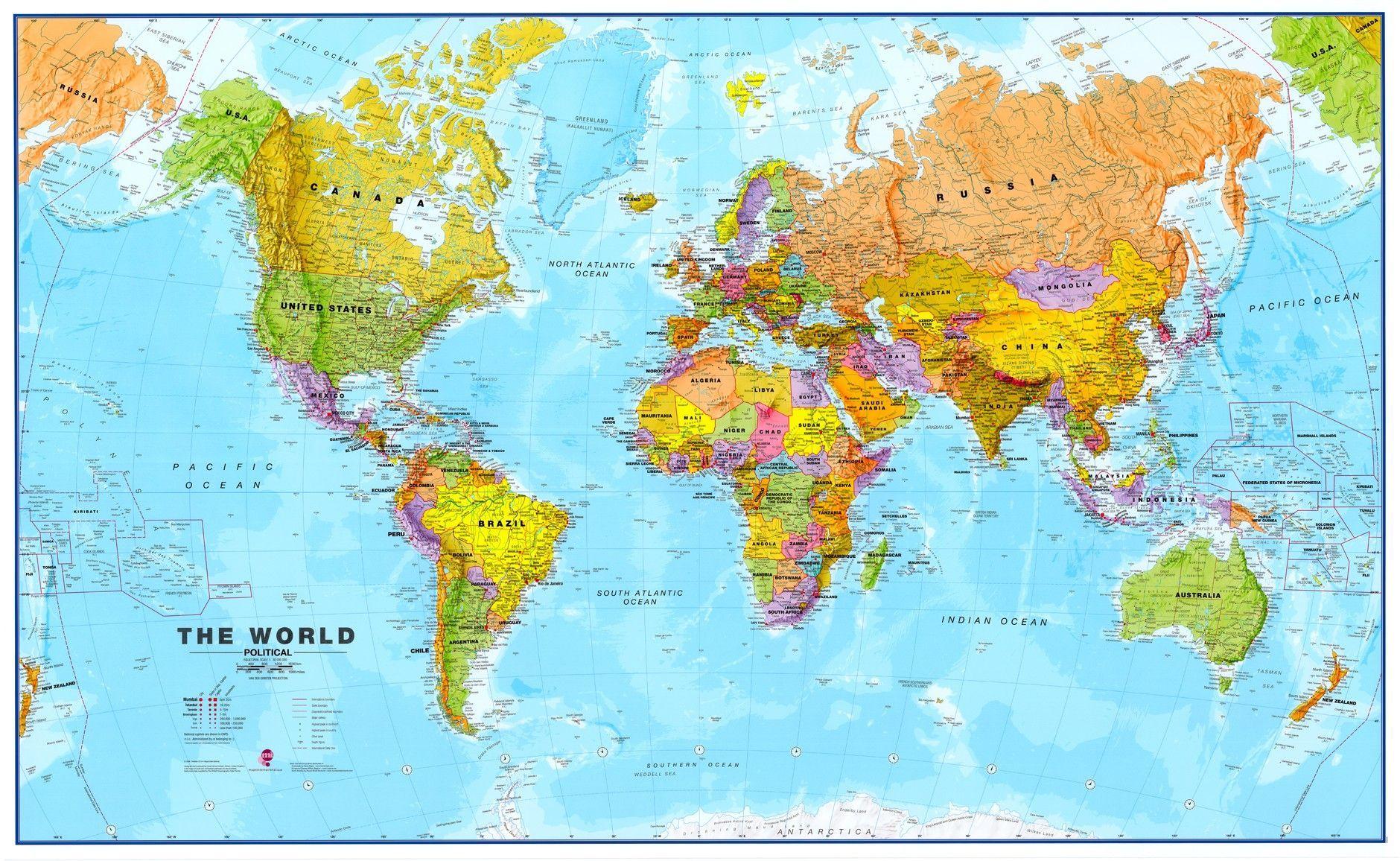 Wereldkaart FEngelstalig