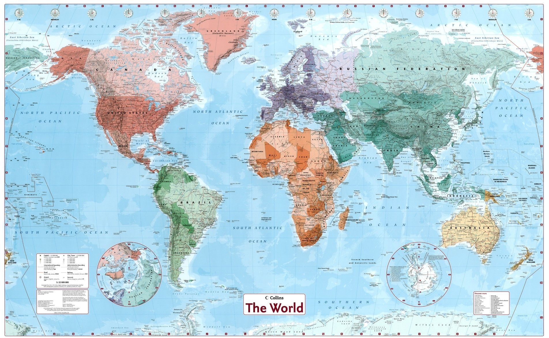 Weltkarte B 1:30.000.000 - Commee Landkarten