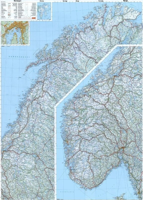 Landkarte Norwegen 1:800.000 mit platz namen index