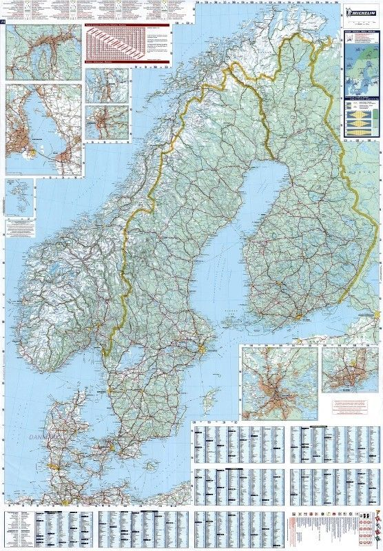 Landkarte Skandinavien 1:1.500.000 mit platz namen index