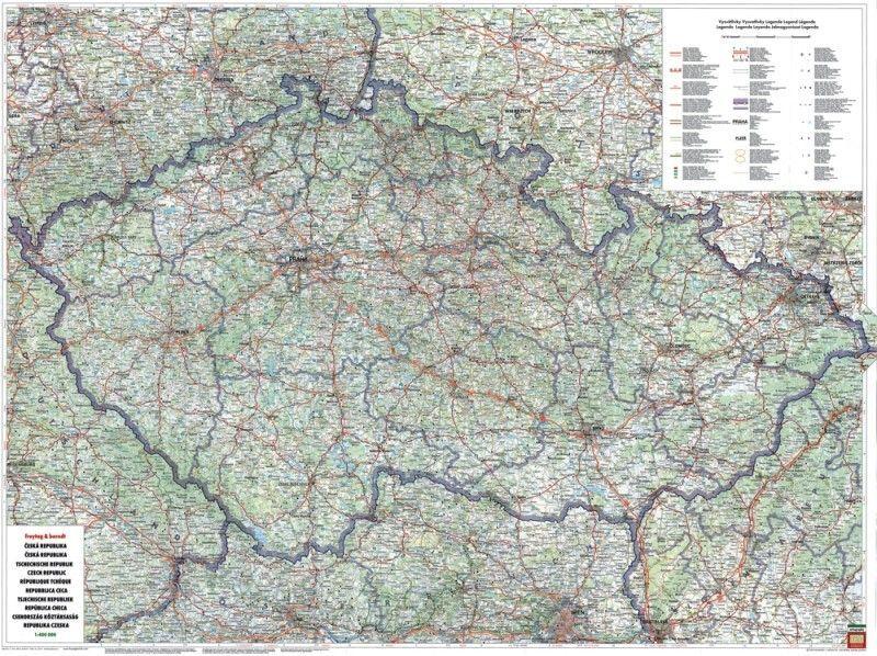 Landkarte Tschechien 1:400.000 mit platz namen index