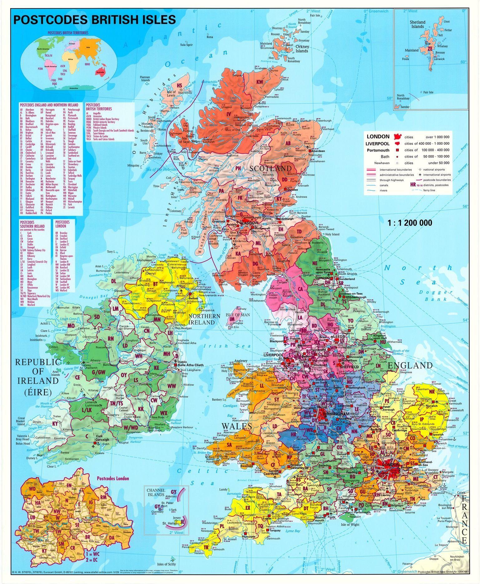 Postleitzahlenkarte Grossbritannien 1:1.200.000
