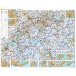 Landkarte  Schweiz 1:303.000 mit platz namen index