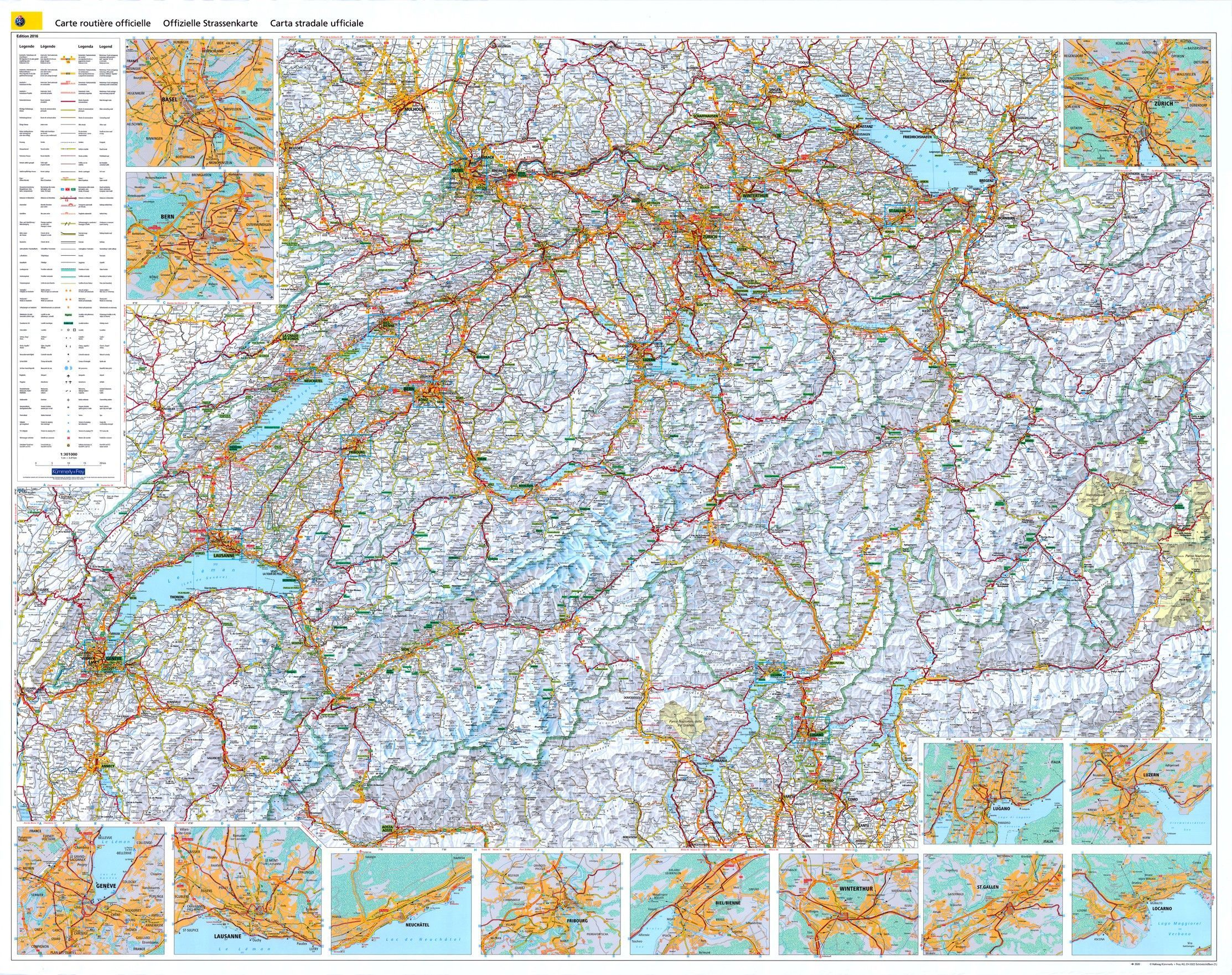 Landkarte Schweiz 1:303.000 mit platz namen index - Commee Landkarten